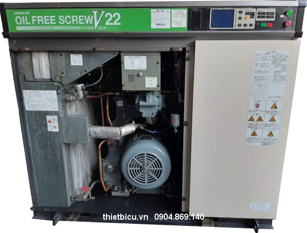 máy nén khí nhật bãi 22 kw hitachi oilfree có dryer