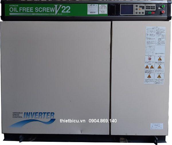 Máy nén khí không dầu Hitachi 22 kw inverter có dryer tách ẩm sấy khí